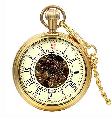 Carrie Hughes Men s Vintage Gold All Copper Open Face Steampunk Skeleton Mechanical Pocket Watch with Chain Best Gifts