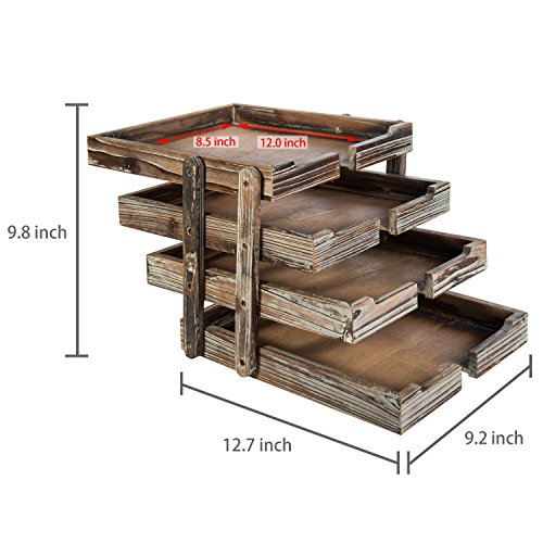 4-Tier Distressed Brown Wood Desktop Document Paper Organizer Collapsible & Expandable Stacking Trays by MyGift (Image #4)