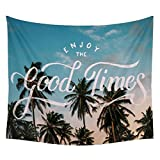 Koongso Palm Coconut Trees Good Times Wall Hanging Tapestry Hippie Handicraft Decoration Beach Blanket for Bedroom Dorm Decor 51'' W x 60'' L
