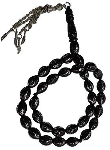 Muslim Worry Beads - Kuka Prayer Beads Inlaid 33 tasbeeh sebha tasbih tasbeh sibha subha Rosary masbaha Muslim Islamic Islam Worry Beads Prayer Beads Salah salat namaz Allah Muhammad zikr dhikr thikr