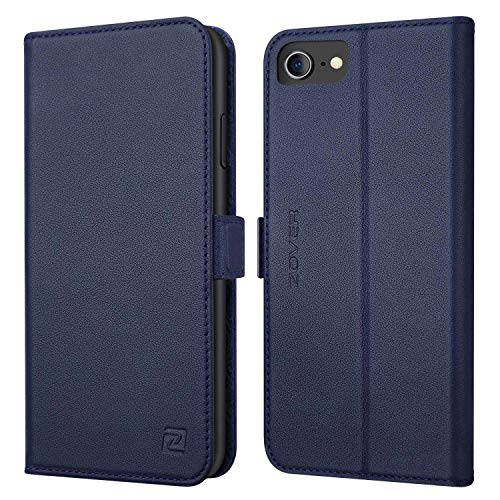 iPhone 8 case iPhone 7 case ZOVER Genuine Leather Wallet Case Flip Folio Book Case with RFID Blocking Kickstand Feature Card Slots & ID Holder and Magnetic Clasps for iPhone 7 and iPhone 8 Navy Blue