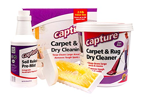 Capture Carpet Dry Cleaning Kit 250-Resolve Allergens Smell Moisture from Rug Furniture Clothes and Fabric, Mold Pet Stains Odor Smoke and Allergies Too (Best Dry Carpet Cleaner Product)