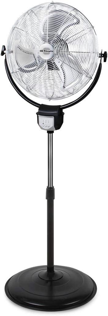Orbegozo PWS 3045 - Ventilador industrial 2 en 1: pie y pared, función oscilante, mando a distancia, 45 cm de diámetro, 3 velocidades, altura regulable hasta 140 cm, 120 W de potencia