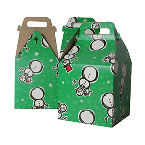 JAM PAPER Gable Gift Box with Handle Large - 8 x 7 1/4 x 8 - Green Snowman Design - Sold Individually