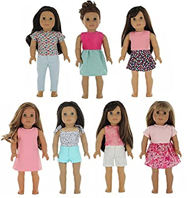 """PZAS Toys American Girl Doll Clothes Wardrobe - 7 Outfits, Fits 18"""" Doll Clothes"""
