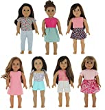 PZAS Toys American Girl Doll Clothes Wardrobe - 7 Outfits, Fits 18'' Doll Clothes