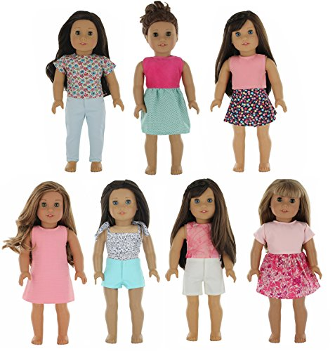 "PZAS Toys American Girl Doll Clothes Wardrobe - 7 Outfits, Fits 18"" Doll Clothes"
