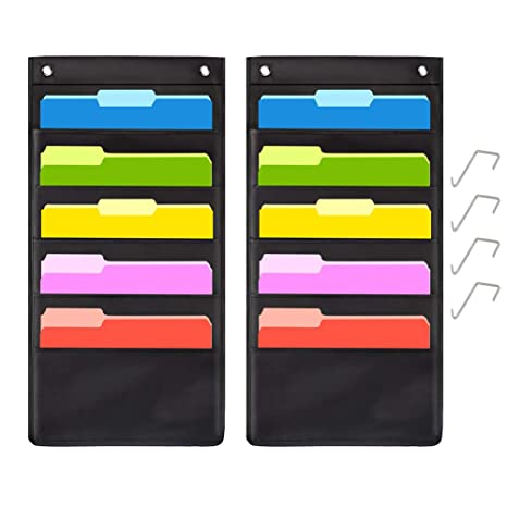 357d551f1688 5 Pocket Hanging File Folder Organizer,Cascading Wall Organizer with 2  Hangers-Ideal for Home Organization,School Pocket Chart,Business folders  and ...