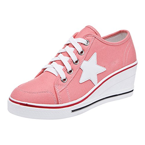 Padgene Womens Canvas High-Heeled Shoes Lace Up Fashion Sneakers Platform Wedges Pump Shoes Pink 2