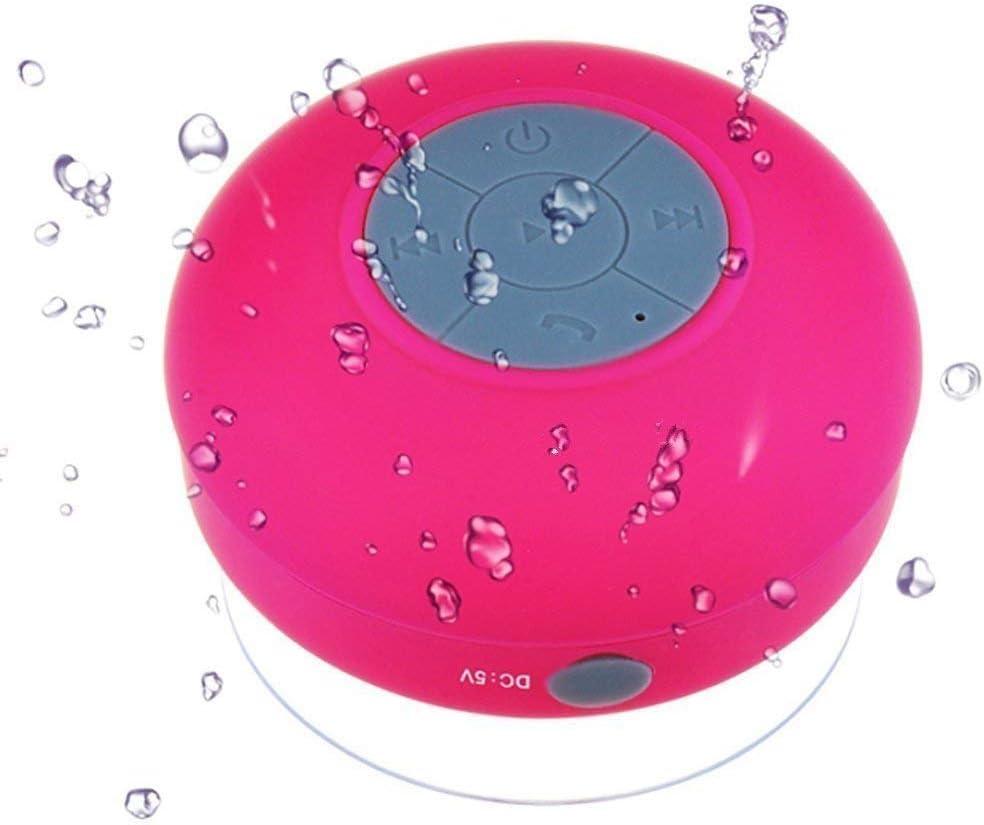 Altavoz Bluetooth Portatiles para la Ducha, Microfono incorporado,Manos Libres Batería Recargable,Sonido Estéreo para Smartphones y Tablets(Rosa roja)