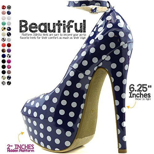 DailyShoes Womens Extreme High Fashion Ankle Strap Peep Toe Hidden Platform Sexy Stiletto High Heel Pump Shoes P Dot Wht Blue Pt C3PVDbXSJ