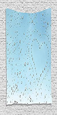 Cotton Microfiber Bathroom Towels Ultra Soft Hotel SPA Beach Pool Bath Towel Farmhouse Heart Shape Rain Droplets on Crystal Clear Window Glass Pure Love Valentines Blue