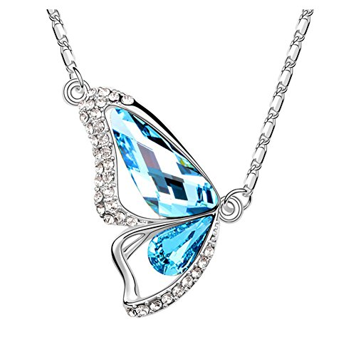"""Mondaynoon Swarovski Elements Blue Crystal Butterfly of Liberty Pendant Necklace Fashion Jewelry for Women 15.7"""""""