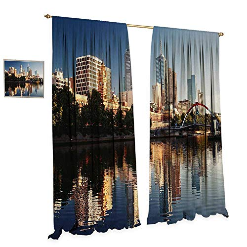 Anniutwo City Thermal Insulating Blackout Curtain Idyllic View of Yarra River Melbourne Australia Architecture Tourism Patterned Drape for Glass Door W96 x L108 Dark Blue Ivory Dark Green