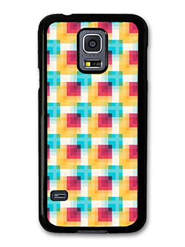 Yellow Red Blue Hypnotic Squares Cool Hipster Style Design coque pour Samsung Galaxy S5 mini