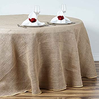 Amazon Com La Linen Natural Burlap Tablecloth Round 56