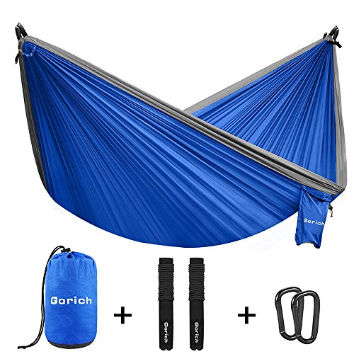 Gorich Double Parachute camping hammock,Lightweight Portable Hammock With Nylon Straps & Steel Carabiners,Great 2 person hammock For Backpacking, Camping, Hiking, Travel, Beach, Yard. (silver/blue) by Gorich