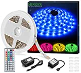 MINGER RGB LED Strip Lights, Non-waterproof 16.4ft SMD 5050 Rope Lighting Color Changing with RF Remote Controller & 12V Power Supply, Flexible LED Tape Lighting Strips for Home Kitchen Decoration