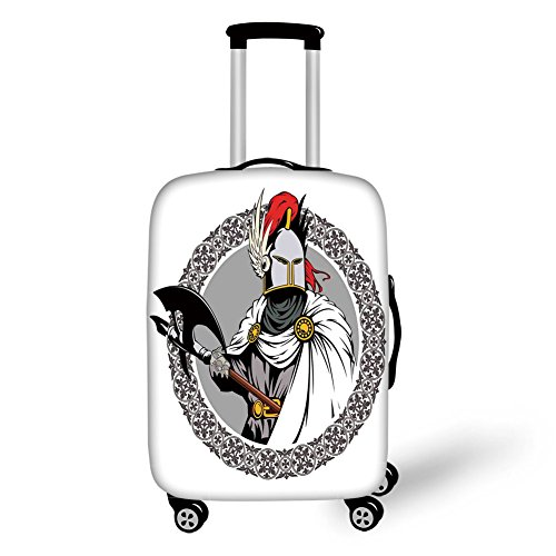 Travel Luggage Cover Suitcase Protector,Medieval Decor,Illustration of the Medieval Knight with Traditional Costume and Ancient Mask Heroic Past,Multi,for Travel -