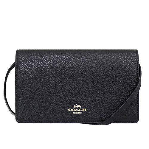 Coach Foldover Clutch Wallet Pebbled Leather Crossbody Bag F30256 (Black) by Coach