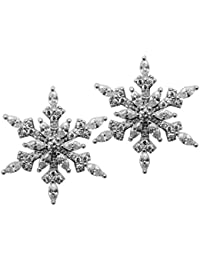 Jewelry Cubic-Zirconia CZ Snowflake Stud Earrings Christmas Thanksgiving Holiday Gifts Women
