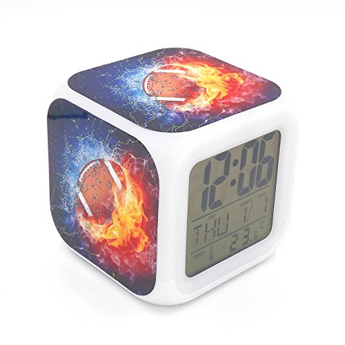 Boyan Led Alarm Clock American Football Ice Fire Creative Desk Table Clock Glowing Led Electronic Digital Alarm Clock Kids Toy Gift - Crystal Football Clock