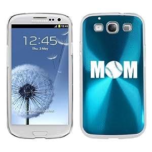 Light Blue Samsung Galaxy S III S3 Aluminum Plated Hard Back Case Cover K2117 Mom Baseball Softball