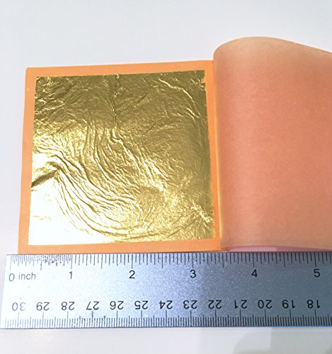 Slofoodgroup 24 Karat Edible Gold Leaf Loose Sheet (25 Sheets Gold Leaf per Book) Gold Leaf Sheet Size 3.15in x 3.15in Loose Leaf Sheets