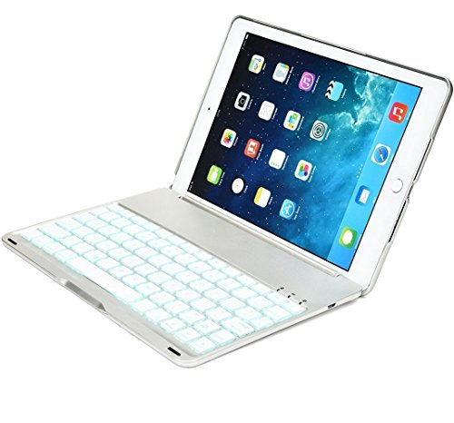 iPad pro 9.7 inch smart keyboard case 7 color backlit bluetooth pro case (Sliver) (Ipad Keyboard Shark Air 2)