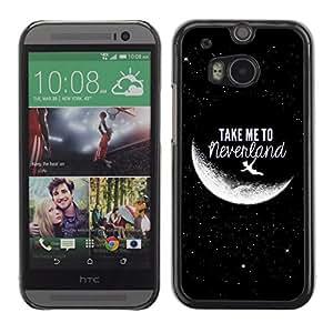 Qstar Arte & diseño plástico duro Fundas Cover Cubre Hard Case Cover para HTC One M8 ( Take Me To Moon Sky Cosmos Love)