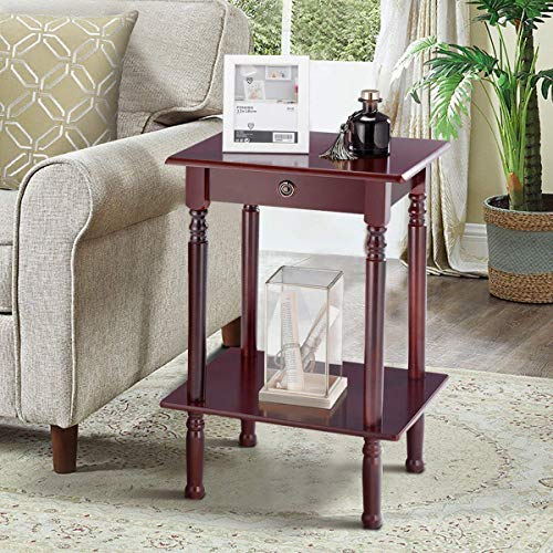 (Tangkula End Table Tall Wood Side Table Accent Style Telephone Stand Table Home Office Furniture)