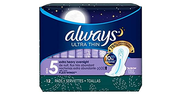 Amazon.com : Always Pads Size 5 Ultra Thin 12 Count Xtra-Heavy Overnight (2 Pack) : Beauty