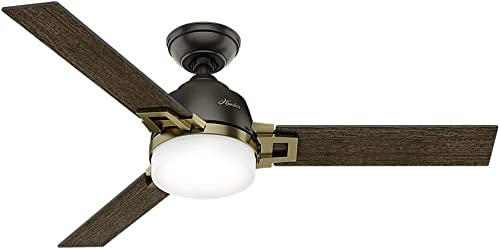 Hunter Leoni Indoor Ceiling Fan with LED Light and Remote Control, 48 , Noble Bronze Mo