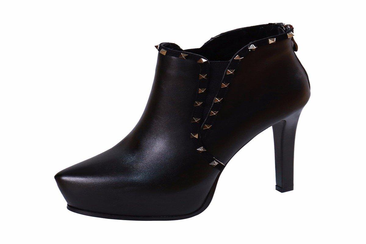 HBDLH Damenschuhe Rivet mit Hochhackigen Schuhen 12Cm in Wasserdichten Tabelle Seite Reißverschluss Kurze Stiefel Ritterlichkeit Stiefel.