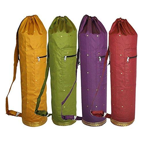 (YogavniTM Saree Fabric Silk Matbag by Yogavni(TM) - Yellow)