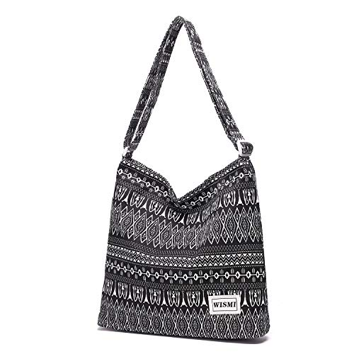 Fabric Hobo Bag - Women's Patterned Canvas Crossbody Bag Casual Hobo Bag Shoulder Bag Shopping Bag (knitty gritty)