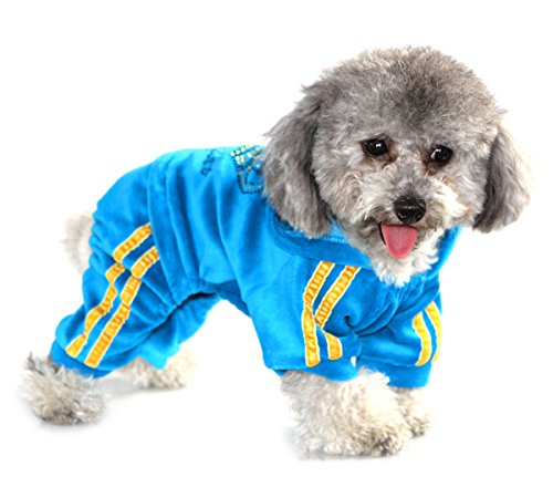 SEIMAI Rhinestone Crown Soft Velvet Dog Hoodie Jumpsuit for Small Dog Cat Puppy Winter Hooded Pajamas Tracksuit Outfits Blue L