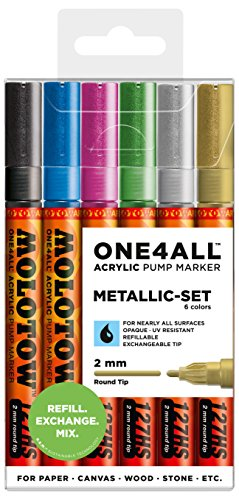 Price comparison product image Molotow One4All Acrylic Paint Marker Metallic Set,  Fine,  2mm Round Point,  6 Assorted Colors (200.197)