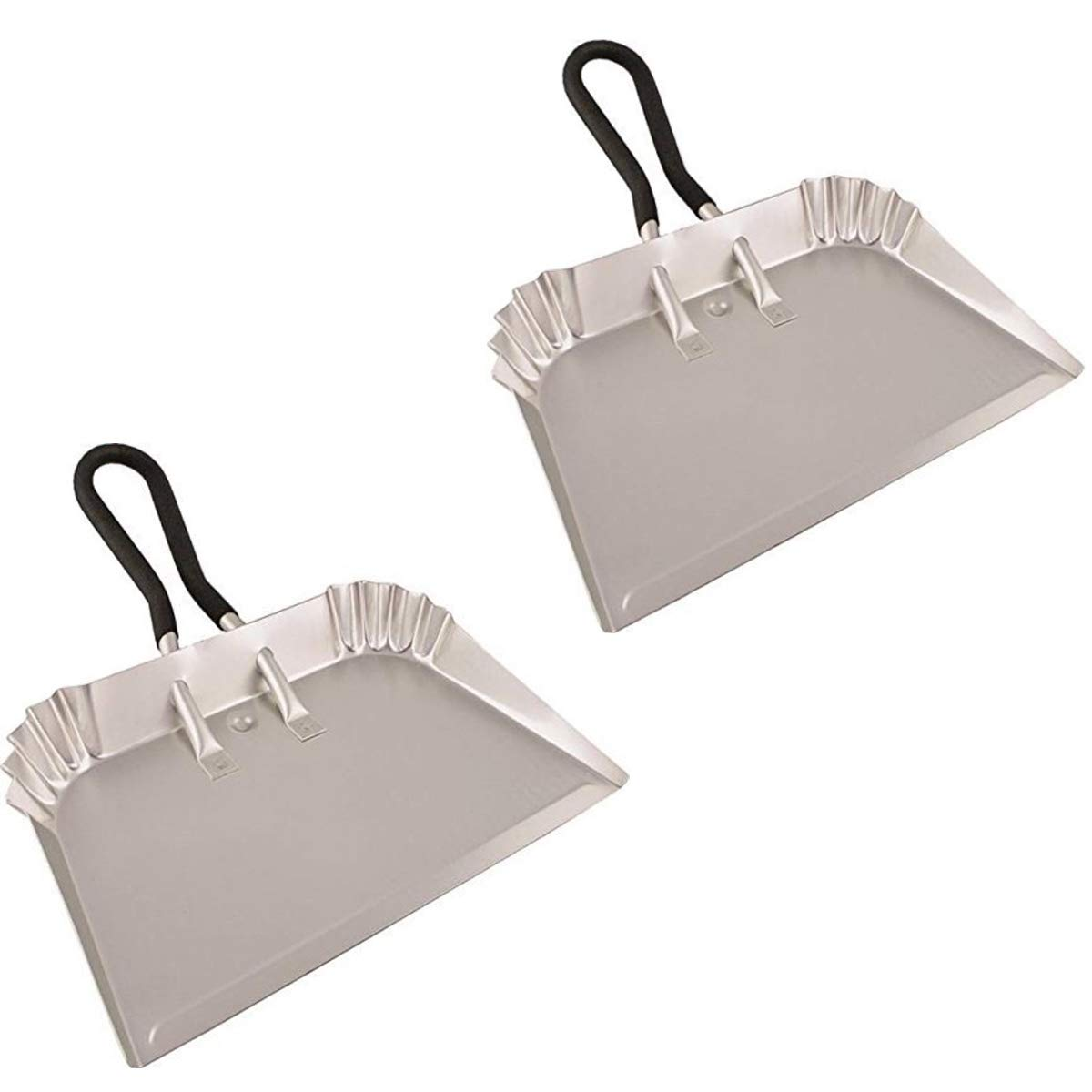 "Edward Tools Extra Large Industrial Aluminum DustPan 17"" - Lightweight - half the weight of steel dust pans with equal strength - For large cleanups - Rubber Loop handle for comfort/hanging (2)"