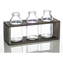 Richland Vintage Milk Bottle Vases With Wooden Stand Set of 6