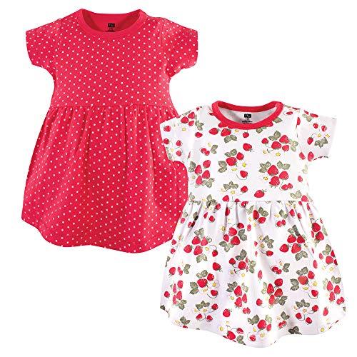 Hudson Baby Baby Girls Cotton Dress, 2 Pack, Strawberries, 5 Toddler (5T) -