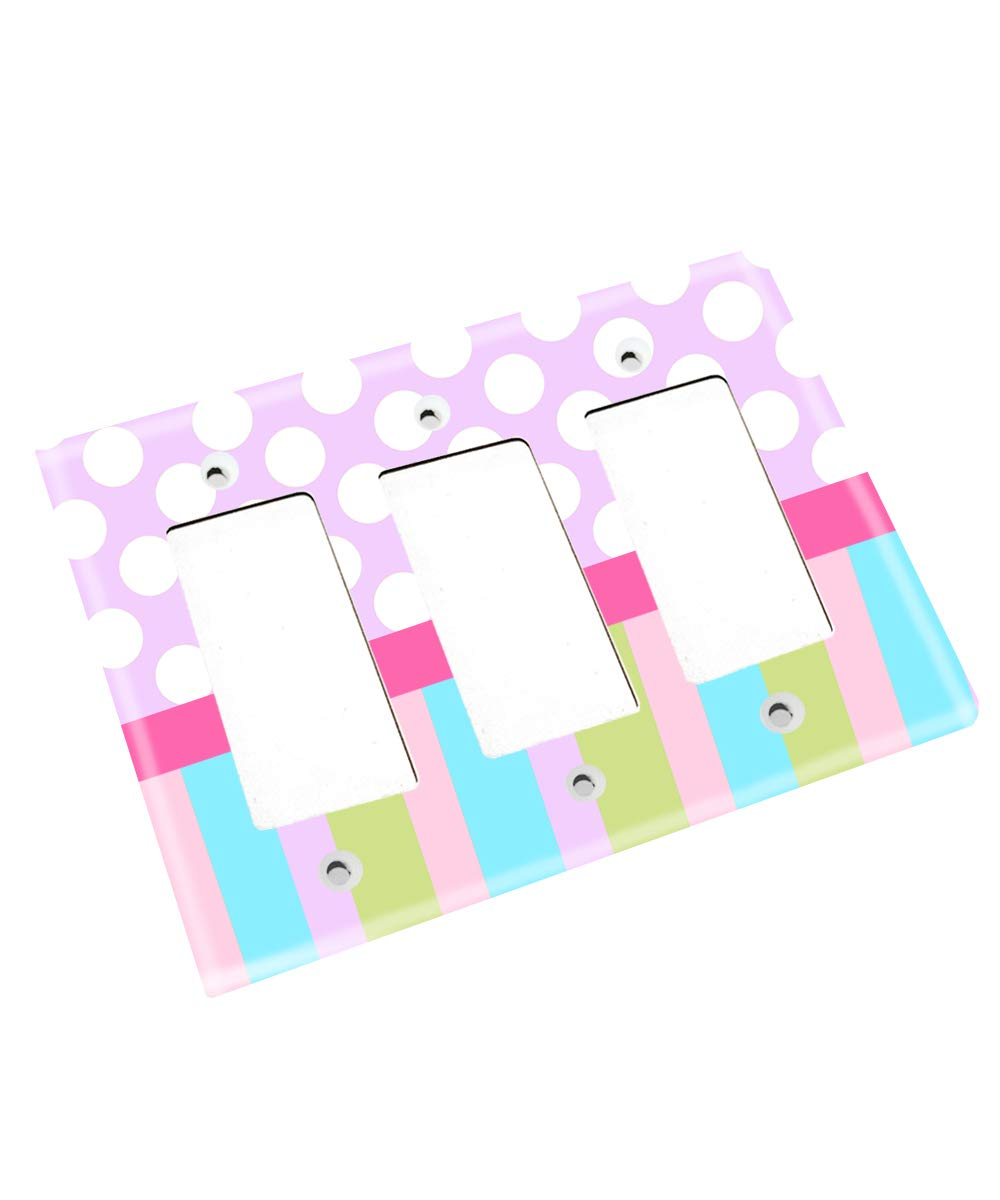 Pastel Polka Dots and Stripes Girls Bedroom Single Light Switch Cover LS0073 (Triple Decora)