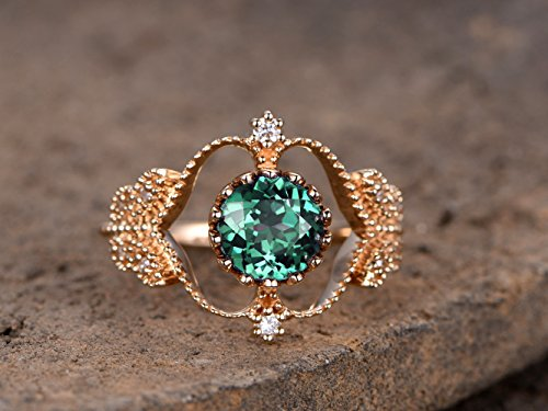 ring,7mm Round cut Green alexandrite ring,Unique Vintage Floral Crown Promise Ring,Sterling Silver Rose gold plated ()