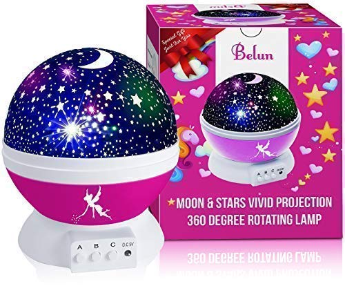 Night Light for Kids Star Light Projector Stars & Moon Roof-Christmas Gift(Pink) -