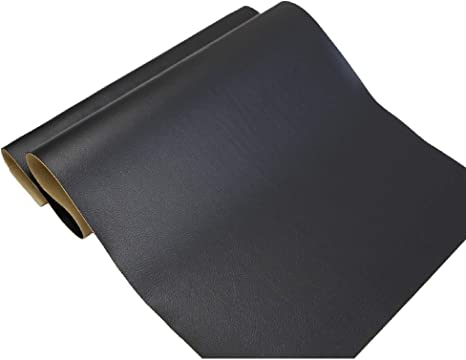Pack of 2 Black Large Leather Repair Patch Adhesive Back First-aid for Upholstery Couch Car Seat Jackets Handbags 12x24 Inches