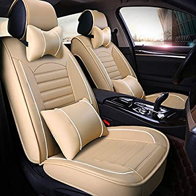 Luxury Car Seat Cover Set Microfiber PU Leather 5-Seat SUV Protector Headrests