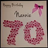 Product review for Happy Birthday Card - Nannie 70th Pink Flowerbed - Handmade Card