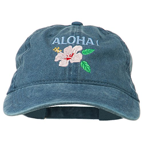 - Hawaii Flower Aloha Embroidered Washed Cap - Navy OSFM
