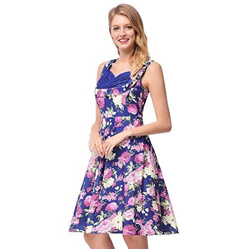 Azul Swing M Halter Mujer Columpio Skater 50S Línea Floral Playa Estampado Vestido Una antaina vtOqnwxTRO