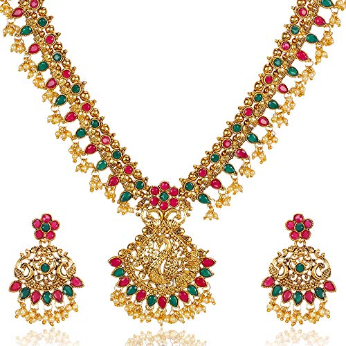 Shining Diva Fashion Latest Traditional Design Necklace Set for Women Gold Plated Jewellery Set for Women (Golden) (10381s) (B07PDKK4WK) Amazon Price History, Amazon Price Tracker